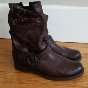 Frye Pull On Brown Leather Boots